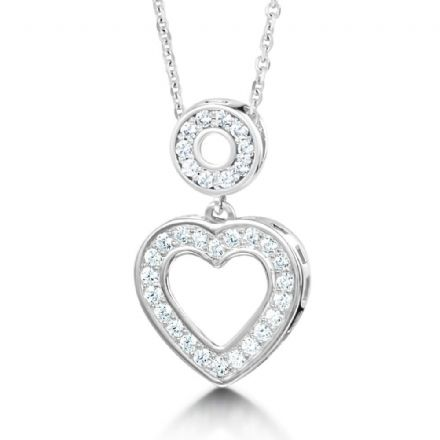 18ct White Gold  G, VS  Diamond pendant stone set heart shaped on swinging stone set circle bail